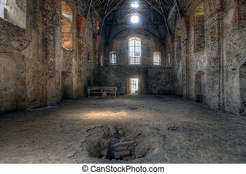Old ruins of the abandoned church of the Annunciation of the Virgin Mary, Czech republic