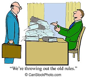 Old Rules - Business cartoon of two businessmen, one is...
