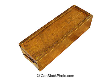 old rummy wooden box on white background - old rummy wooden ...