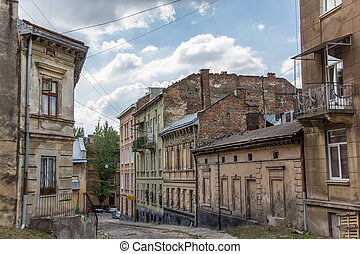 Old run down quarter of Lviv, Ukraine