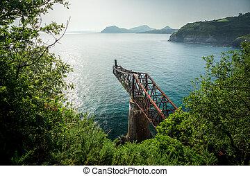 Old run-down rusty iron loading bay, top view - Old run-down...