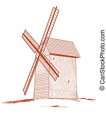 Old rural windmill.