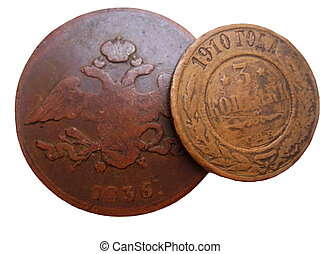 Old russian and soviet coins isolated on the white background