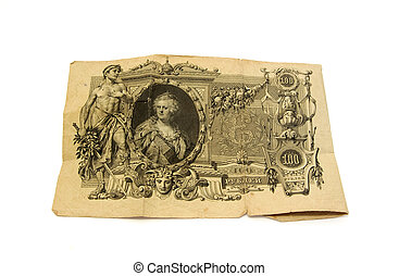 Old Russian money. Vintage banknote 100 rubles, 1910 year