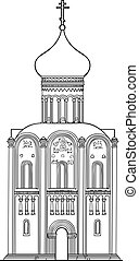 Church of the Intercession on the Nerl. Old Russian Orthodox church of the 12th century. Vector drawing
