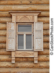 Old Russian Style Window with Wood Frame