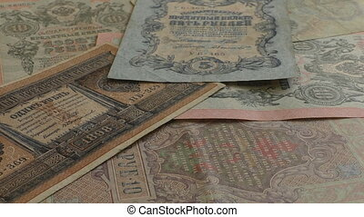 Old Russian tsarist banknotes falling - Old Russian imperial...