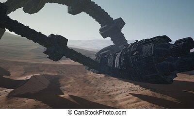 old rusted alien spaceship in desert