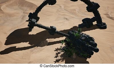 old rusted alien spaceship in desert. ufo - old rusted alien...