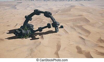old rusted alien spaceship in desert. ufo - old rusted alien...