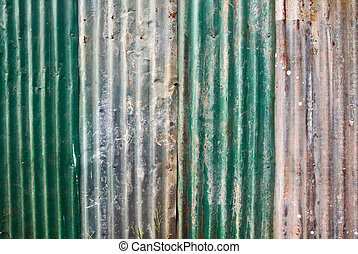 Old rusted corrugated metal wall