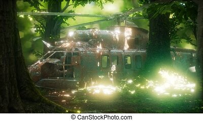 old rusted military helicopter in the forest