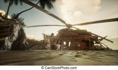 old rusted military helicopter near the island