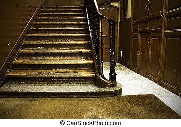 Old rusted stair in an antique building