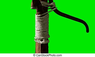 old rusted water pump on green chromakey background