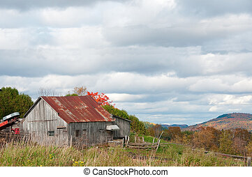 old rustic barn of Quebec Country of High Laurentides in ...
