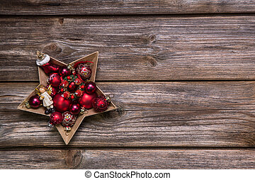 old rustic christmas background with red advent balls like a sta - Rustic Christmas Background