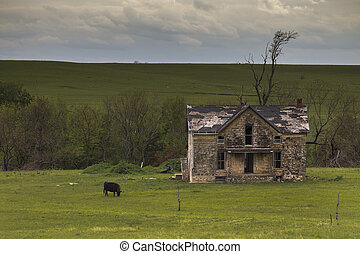 Old Rustic Farmhouse in the Flinthills of Kansas