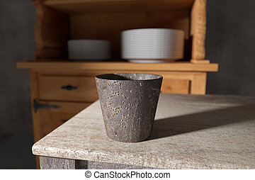 Old rustic flower pot on wooden table