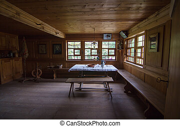 old rustic living room in black forest house