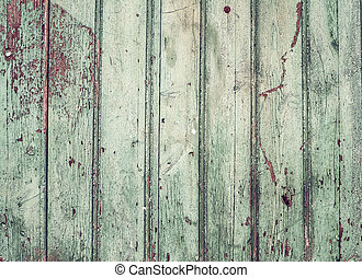 Old rustic painted cracky green turqouise wooden texture or...