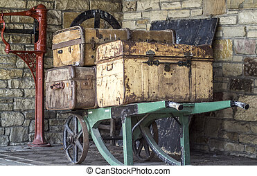 Old rustic suitcases