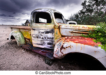 Old rustic truck - Wide angle shot of old rustic truck