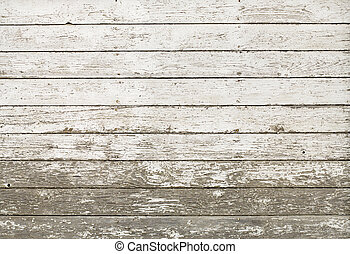 Side of an old white barn, with paint chipped and peeling, Horizontal planks; image can be made vertical.