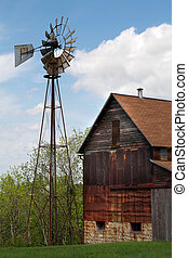 Old Rusty Barn and Windmill