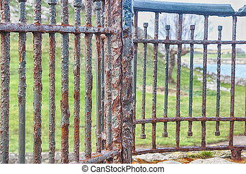 old rusty bars of an iron gate