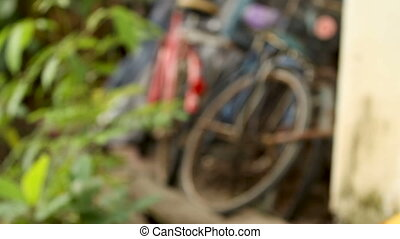 Old rusty bicycles parked in the barn in Lumpini park....