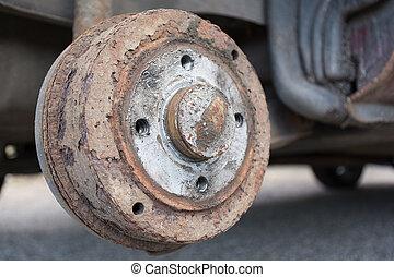 old rusty brake drum -closeup - Nahaufnahme einer alten...