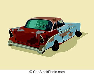 Old rusty broken car. Vector flat cartoon illustration