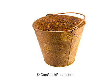 Old Rusty Bucket isolated on white