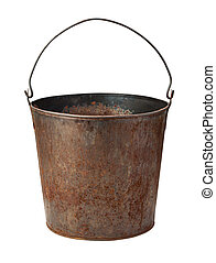 Old Rusty Bucket isolated with clipping path - Old Rusty...