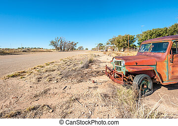 Old rusty car on Route 66