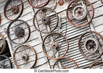Old rusty car wheels.