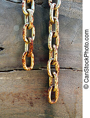 Old rusty chain on wooden background