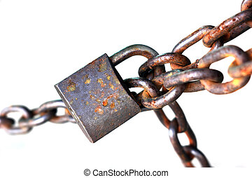 Old rusty chain with lock isolated on white background
