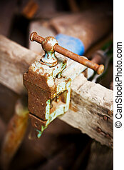 Old rusty clamp closeup
