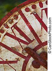 Old rusty clock in a flea market