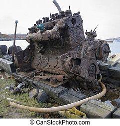 old rusty diesel engine