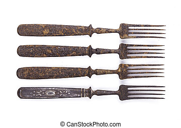 old rusty fork on a white background
