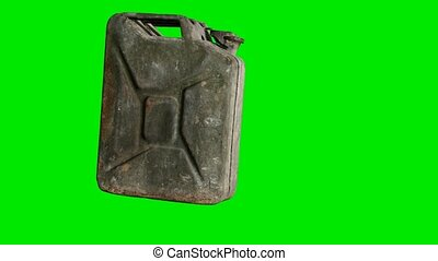 Old rusty gasoline canister on green chromakey background