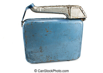 Old rusty gasoline jerry can with lid isolated on white