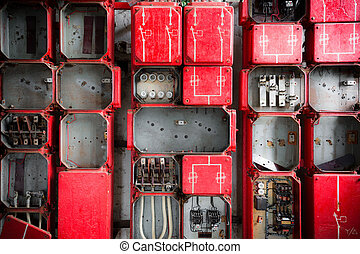Industrial Fuse Cabinet close up - Old Rusty Industrial Fuse...