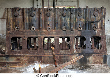 Old rusty industrial machine