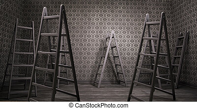 Old rusty interior with many ladders