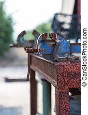 old rusty iron grip