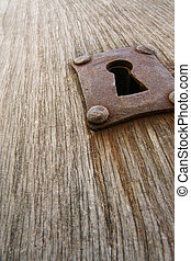 Old rusty keyhole - On an old door in le Mont-Saint-Michel